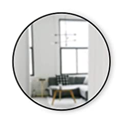 LARGE, ROUND MIRROR: Hub is a 37-inch diameter mirror, with contemporary rubber frame that looks great in any room DECORATIVE RUBBER FRAME: Hub's innovative rubber frame not only adds to the look of this large wall mirror, but also doubles as a prote...