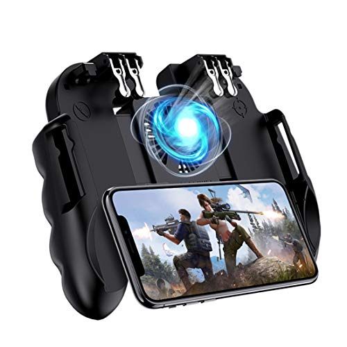 4 Trigger Mobile Game Controller with Cooling Fan for PUBG/Call of Duty/Fotnite [6 Finger Operation] L1R1 L2R2 Gaming Grip Gamepad Mobile Controller Trigger for 4.5-6.5' iOS & Android Phone
