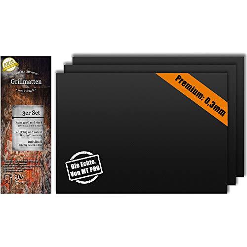 MT Pro BBQ Grillmatte (3er Set) für Grill und Backofen, Groß und Robust 40x50cm x 0,3mm