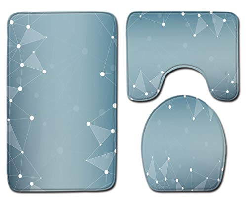 Badmat Kleed 3-Delige Set Soft Fashion Fantasy Grijze Print Toiletbril Cover Badmat Deksel Cover Badmat Family Home Decor