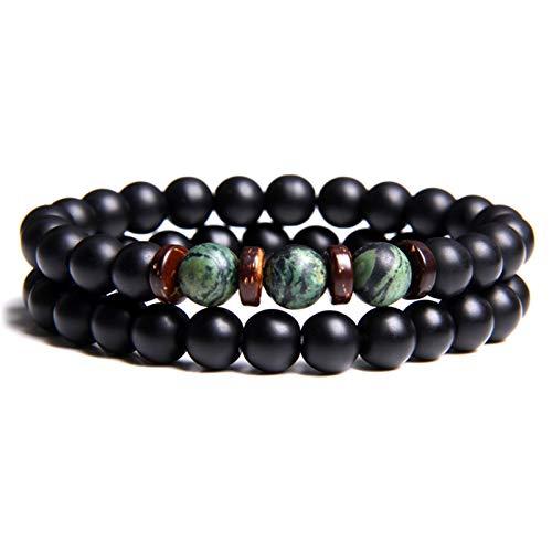 SASCD Charm Men Pulsera Black Onyx Beads Crown Pulseras para Mujeres Hombres Joyería De Moda Regalo (Length : 19cm, Metal Color : New Polar Jade)