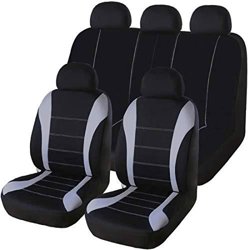 TOOGOO 9-teiliges Set Autositzbezüge, Vordersitzbezüge, Sitzbezüge, Sportsitzbezüge, Sportsitzbezüge, Schwarz + Grau