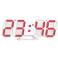 3D LEDデジタル時計、電子置時計目覚まし時計ウォールグローイングは時計ホワイトハンギング 居間 台所 事務所 会議室等の場所適し (Color : Red)