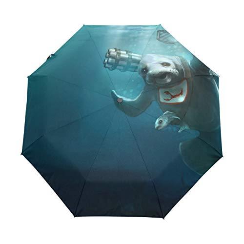 FANTAZIO Fantasio 3-Fach Faltbarer Reise-Regenschirm, lustiger Manatee Meer Kuh Fisch zum Kochen, automatischer Öffnungsschirm