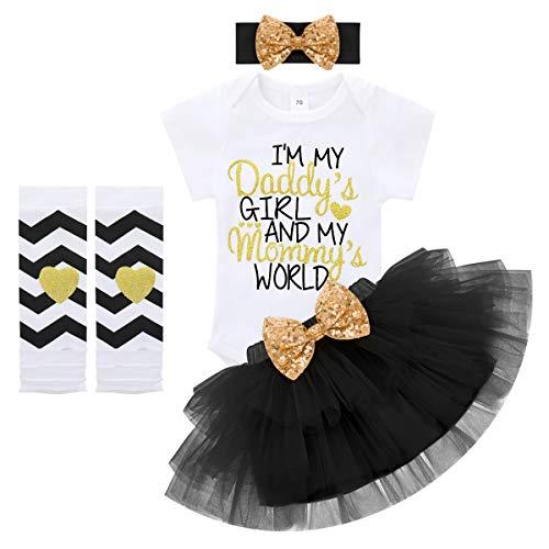 Baby Mädchen 1.Geburtstag Party Outfit I'm My Daddy's Girl and My Mommy's World Prinzessin Kleid Baumwolle Kurzarm Strampler Tüll Tütü Rock Pailletten Stirnband Beinwärmer Set Schwarz 12-18 Monate