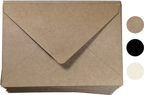 "Kraft Invitation Envelope A7 Size 100 Pcs, by Secret Life 5 1/4"" x 7 1/4""inches (Kraft 100)"