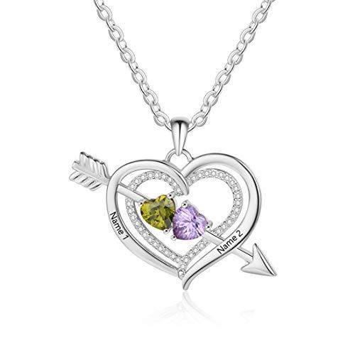Collar Con Colgante De Corazón De Plata 925 Con Flecha Collar De Promesa De Nombre Grabado Collar De Aniversario Del Día De La Madre De Cumpleaños Para Mujer(Plata 20')