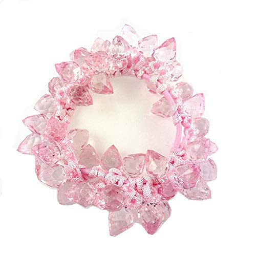 Elastic Hair or Bracelet with Transparent Beads Pink