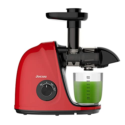Juicer Machines, Jocuu Cold Press Juicer, Slow Masticating Juicer with Soft/Hard 2-Speed, Easy to Clean, Quiet Motor, Reverse Function, with Brush & Fruit Vegetable Juice Recipes, Red (Renewed)