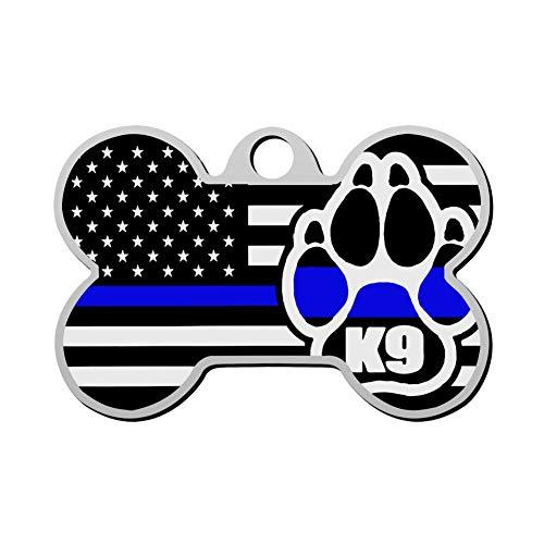 GPZHM Customized Blue Line Flag Dog Claw Pet ID Tag - Bone Shape Dog Tag & Cat Tags