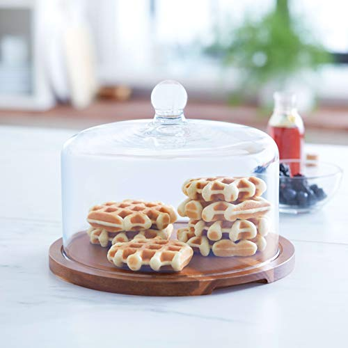Round bamboo base serving tray with dome glass lid for Salad cheese bread cake snacks storage platter /Ø 21x16cm QILICHZ