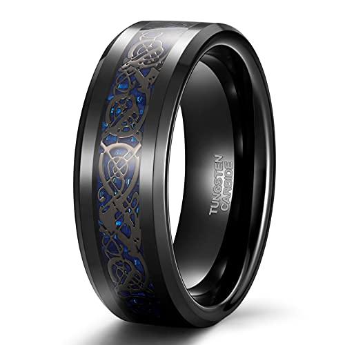 8mm Celtic Mens Wedding Bands Dragon Men Tungsten Carbide Ring Purple Black High Polished Comfort Fit Size 13