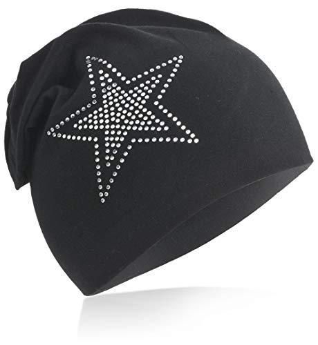 2Stern Baby Kinder Jersey Slouch Beanie Long Mütze mit Strass Stern Unisex Baumwolle Trend Schwarz-M