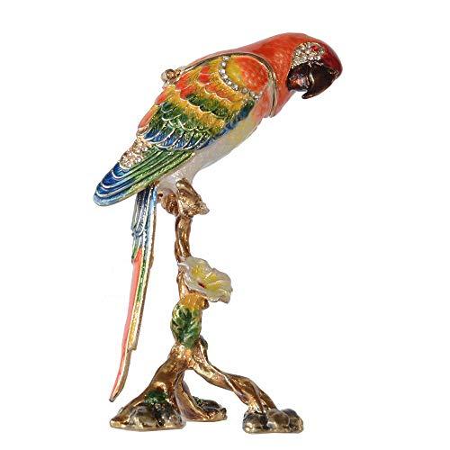 WanTo Caja de la baratija Loro Guacamayo esmaltado bisagra Joyero Ornamento Peltre Regalos pájaro estatuilla de Mesa