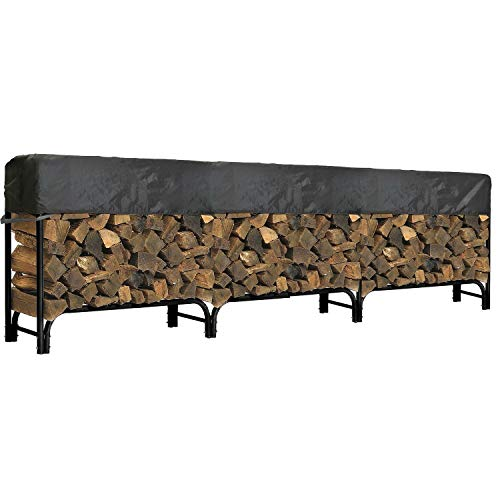 Read About North East Harbor Outdoor Firewood Log Rack Cover - 144 L x 24 W x 20 H - Short Top Co...
