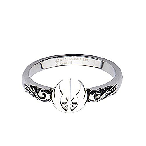 Disney Women's Stainless Steel Star Wars Jedi Symbol Cut Out Ring Size 9