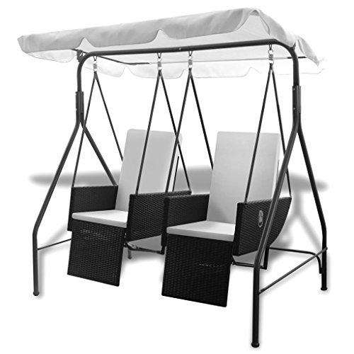 vidaXL Hollywoodschaukel 2-Sitzer Poly Rattan Gartenschaukel Doppelliege