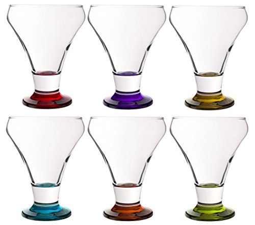 Colored Serverware 6-Piece Mini Martini Footed Dessert Glass Set, 10.25 Ounce