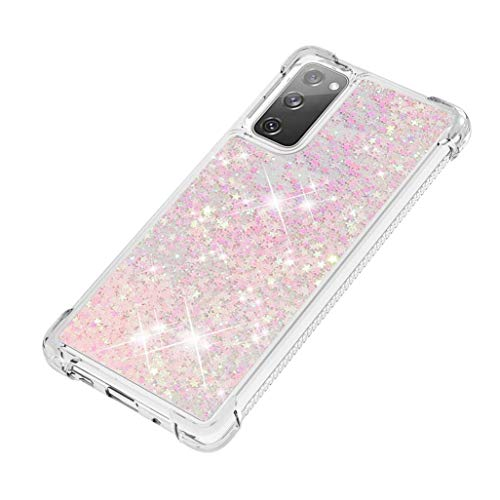 Preisvergleich Produktbild GOGME Hülle für Samsung Galaxy S20 FE 5G / 4G Hülle,  Handyhülle Samsung Galaxy S20 FE 5G / 4G Glitzer Flüssig Treibsand Weich TPU Bumper Silikon Ultra Dünn Stoßfeste Schutzhülle,  Hell pink