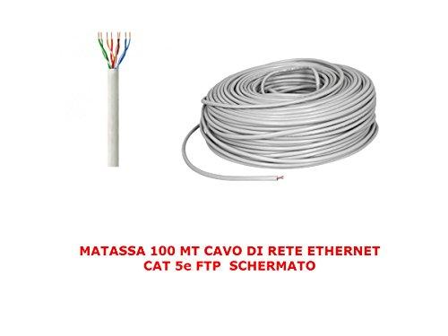My smart shop MATASSA 100 MT Metri Cavo di Rete FTP Cat 5E LAN ETHERNET 5 E Internet SCHERMATO Bobina Router Grigio Access Point
