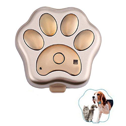 Egmy New GPS Pet Tracker Smart WiFi Mini Tracker ,Pet Tag Tracker ,Waterproof Collar Locator,Safety Alarm Best for Large Medium Small Pets (Gold)