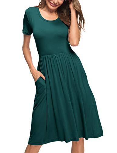 AUSELILY Vestido Acampanado Informal Plisado con Bolsillos y Cintura Imperio para Mujer(Verde Oscuro,XL)