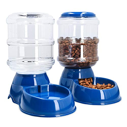 Navaris Dispensador automático de Comida y Agua - Comedero y Bebedero para Perros Gatos Animales - Dispensadores de pienso para Mascotas -...