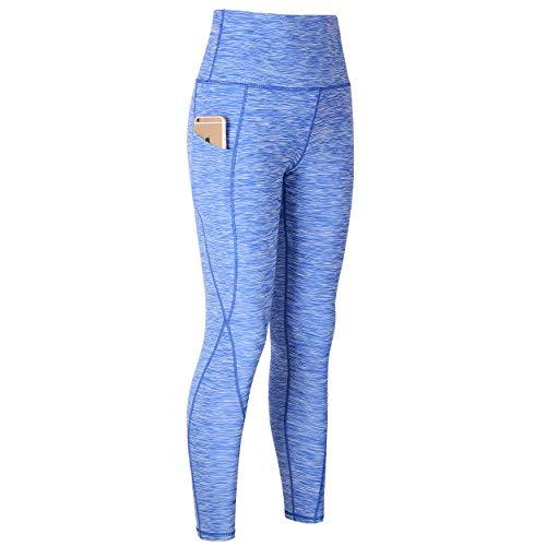 Beninos 2 Pack Women's High Waist Yoga Pant Running Workout Leggings with Pocket (SG9033 Blue S)