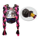 3T-SISTER Casco Pigtails Gradiente Ramp Casco Rizado Cola de Cabello con Ventosa para Moto 2 Piezas (Blackpink)