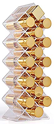 Fish Shape Lipstick Organizer Tower, Lip Gloss Storage Holder Stand for 16 Lip Sticks, Perfect for Makeup Cosmetic Vanity and Dresser Display, Clear Acrylic