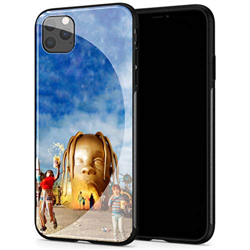 Compatible with iPhone 12 Pro Max Case, Tempered Glass Back Cover Soft Silicone Bumper, AMB-2 Astroworld Travis Scott