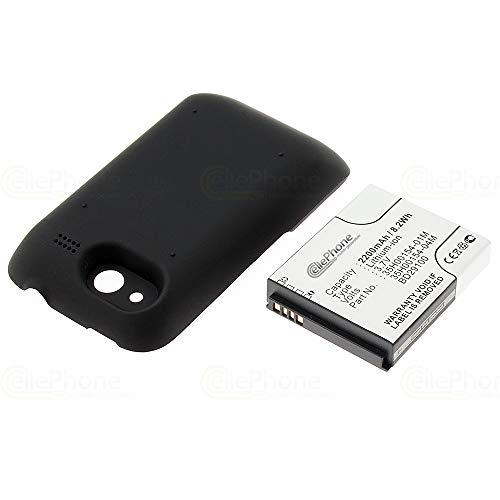 cellePhone batería Li-Ion para HTC Wildfire S - Black (reemplazado BA S540) - 2200 mAh (Fat)