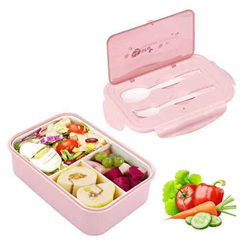 Sunshine smile Lunchbox Kinder,Brotbox Kinder,Lunchbox mit Fächern,Brotdose Kinder,Bento Box Kinder,Lunchbox Picknick (Rosa)