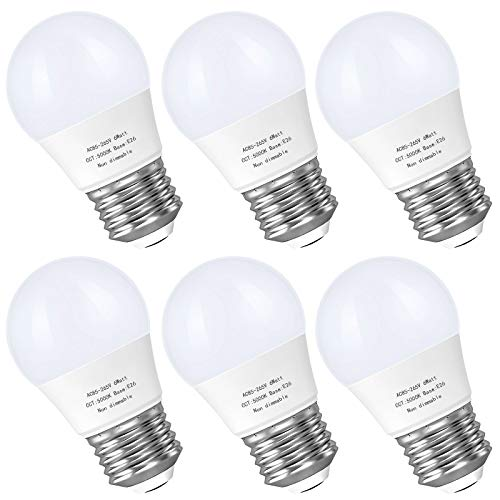 A15 Led Bulb, E26 Base Ceiling Fan Light Bulbs, 6W(60 Watt Incandescent Equivalent), 5000K Daylight Appliance Bulb, 550 LM, Small for Refrigerator Bulb, Bedroom Kitchen Lighting Non-Dimmable,6 Pack