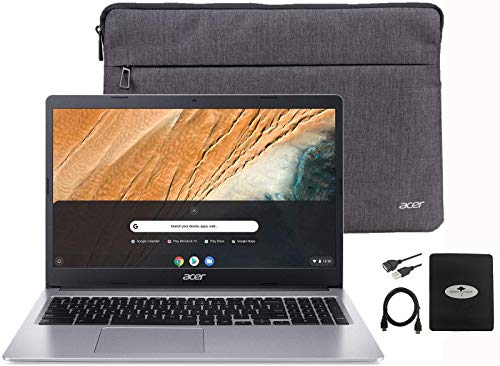 """2020 Acer Chromebook 15.6"""" Thin Light Laptop for Business and Student, Intel Celeron N4000(up to 2.60 GHz), 4GB RAM, 32GB eMMC, Protective Sleeve, Webcam,USB-C, Bluetooth, Chrome OS w/GM Accessories"""