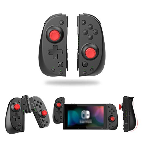 Wireless Switch Joy Con Controller, Vivefox Ergonomic Switch Controller L/R Replacement Joycon with Grip Connector Turbo, Gyro Axis, Alternatives Joy-con for Switch & Lite Remote Gamepad Black