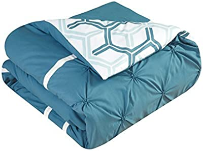 Chic Home Marcia 4 Piece Reversible Comforter Set Super Soft Microfiber Pinch Pleated Ruffled Design with Geometric Patterned Print Bedding with Decorative Pillows Shams, Full/Queen Blue