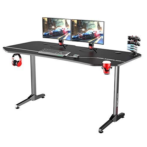 sogesfurniture Gaming Tisch T-Förmig, Großer Gaming Schreibtisch Computertisch Arbeitstisch mit Mausunterlage, Getränkehalter und Kopfhörerhaken, 160x70x75cm, Schwarz BHEU-NE-1675