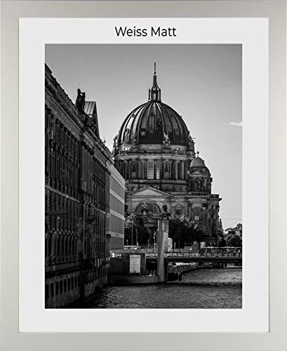 1a Bilderrahmen Monzetta 51x112 Weiss matt 112x51 cm mit Rückwand und spiegelfreiem Antireflex Acrylglas 1mm