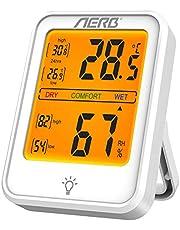 Aerb Higrómetro para interior, higrómetro y termómetro interior, medidor de humedad digital con alta sensibilidad, higrómetro para habitación de bebé, salón, oficina (1 unidad)…