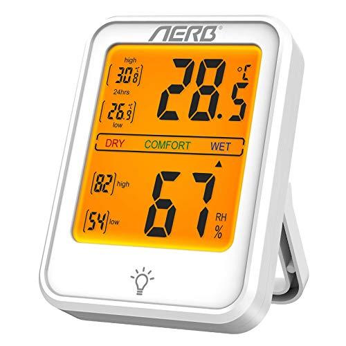 Aerb Hygrometer Innen, Hygrometer Thermometer Innen Luftfeuchtigkeitsmessgerät Hydrometer Feuchtigkeit Digital mit Hohe Empfindlichkeit, Thermo Hygrometer für Babyraum, Wohnzimmer, Büro(1 Stück)