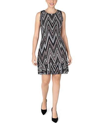 Sandra Darren Women's Metallic Sleeveless Mini Dress with High Neck, Black/Rose Gold, 14