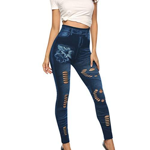 Luoluoluo dames yogabroek elastische joggingbroek fake jeans met gaatjes leggings vrouwen sportbroek skinny trainingsbroek high waist
