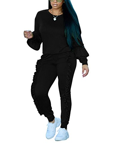 Akmipoem Fashion Two Piece Outfit Ruffle Suit Sweatsuit Tracksuit for Young Women,Black,Medium/US8-10
