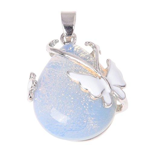 Opal-Edelstein-Anhänger in Tropfenform mit Schmetterling-Verzierung von Sodial (R)