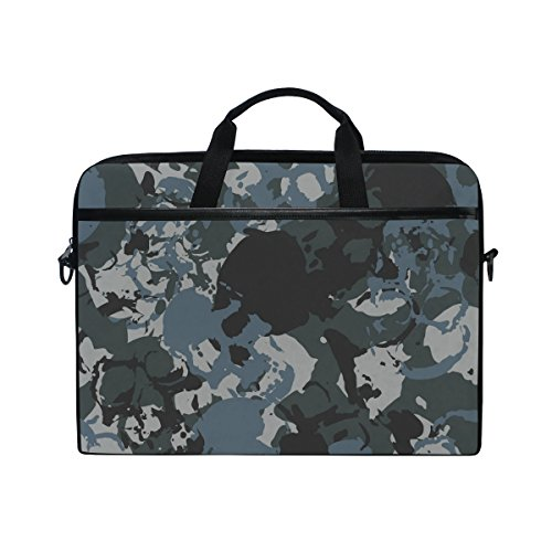 JSTEL Skulls Navy Camouflage Laptop Shoulder Messenger Bag Case Sleeve for 14 inch to 15.6 inch with adjustable Notebook Shoulder Strap