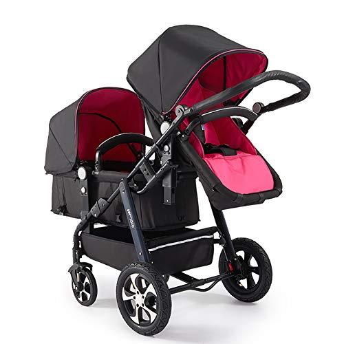AMENZ Kinderkraft Kinderwagen Buggy Tragewanne Alu Rahmen Umkehrbarer mit Pannenfrei Garantie Große Räder Luftreifen Günstig Sonnensegel für Gängige Kinderwägen Buggies - Doppelwagen Rosa