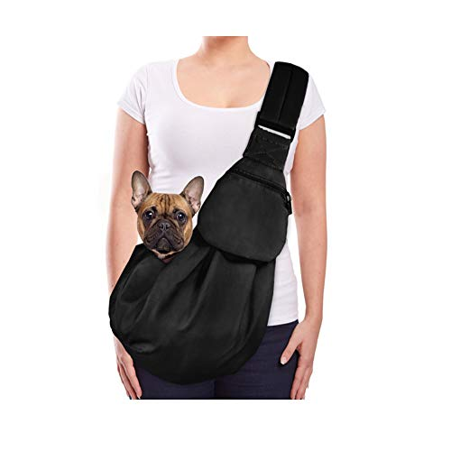 Lukovee Tragetuch Hund, Katze Haustier Hand Schleuderträger Schultertasche Verstellbare Gepolsterte Schultergurt mit Fronttasche hundetragebeutel Metro Outdoor (Schwarz)
