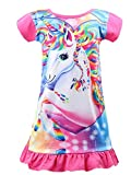 HOYMN Nachthemd Mädchen Einhorn Kleid Regenbogen Nachtwäsche Kurzarm Nachthemd Nachtkleider Morgenmäntel 3-10 Jahre für Geschenke