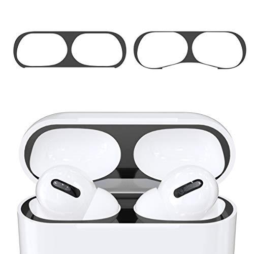 kwmobile Staubschutz Sticker kompatibel mit Apple AirPods Pro - Metallstaub Schutz Aufkleber Skins in Schwarz